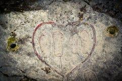 Coeur et empreintes de pas Image stock