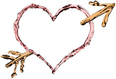 Coeur et flèche d'isolement Photos stock