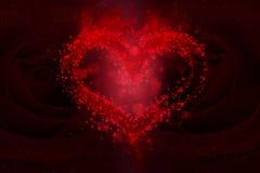 Coeur et fond de bokeh de roses Photographie stock