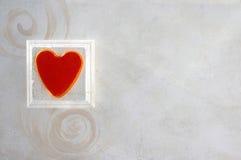 Coeur et fond de spirales Photo stock