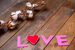 Coeur et gossypium rouges Image stock