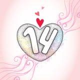 Coeur et numéros pointillés 14 sur le fond texturisé rose avec des remous et des taches illustration de vecteur