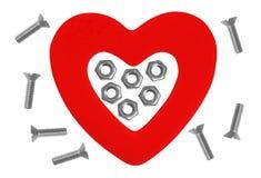 Coeur et outils. Concept : Rénovation de coeur. D'isolement sur le blanc Image libre de droits
