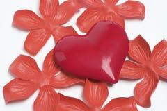 Coeur et pétales rouges d'amour Photo stock