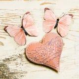 Coeur et papillons Photographie stock