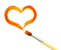 Coeur et pinceau Image stock