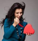 Coeur et poivre de /poivron d'un rouge ardent Photos libres de droits