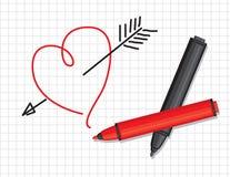 Coeur et repères tirés Photographie stock libre de droits