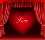 Coeur et rideau. Photo stock