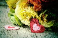 Coeur et roses d'art Photo libre de droits