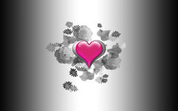 Coeur et roses en verre Photo stock