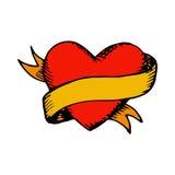 Coeur et ruban classiques de vecteur de tatouage Images stock