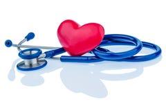 Coeur et stéthoscope Images stock