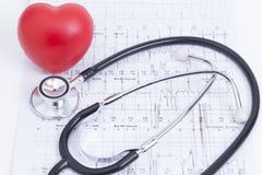 Coeur et stéthoscope rouges Image stock