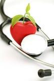 Coeur et stéthoscope rouges sur le blanc Photo stock