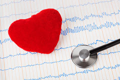 Coeur et stéthoscope sur l'ecg Photo libre de droits