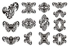 Coeur et symboles tribals de lui Photo stock