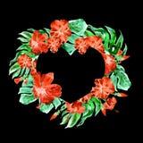 Coeur exotique de frontière de fleurs et de feuilles Image libre de droits