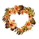 Coeur exotique de frontière de fleurs et de feuilles Images libres de droits