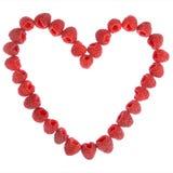 Coeur fabriqué à partir de des framboises Image libre de droits