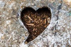 Coeur fait d'acier de chemin de coupure au milieu Photographie stock libre de droits