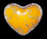 Coeur fait dans 3D métallique brillant d'or avec la peinture jaune d'isolement sur le fond noir photos stock