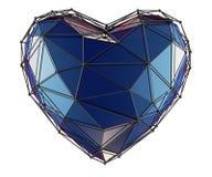 Coeur fait dans la couleur bleue de bas poly style d'isolement sur le fond blanc 3d photo stock