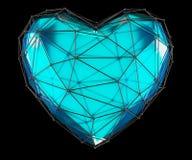 Coeur fait dans la couleur bleue de bas poly style d'isolement sur le fond noir 3d Photographie stock libre de droits