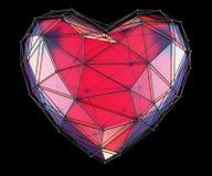 Coeur fait dans la couleur rouge de bas poly style d'isolement sur le fond noir 3d Images libres de droits