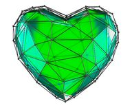 Coeur fait dans la couleur verte de bas poly style d'isolement sur le fond blanc 3d photographie stock