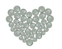 Coeur fait de bidons en métal pour la réutilisation Photographie stock libre de droits