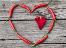 Coeur fait de Chili Pepper avec le pétale de rose à l'intérieur Photographie stock libre de droits