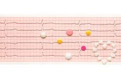 Coeur fait de comprimés et comprimés sur les résultats de papier d'ECG Image stock