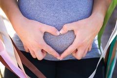 Coeur fait de doigts avec deux mains sur un estomac Images libres de droits