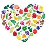 Coeur fait de fruits et légumes Photographie stock