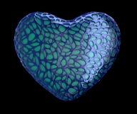 Coeur fait de plastique bleu avec les trous abstraits d'isolement sur le fond noir 3d Image stock