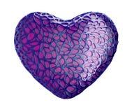Coeur fait de plastique pourpre avec les trous abstraits d'isolement sur le fond blanc 3d image stock