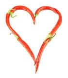 Coeur fait de poivrons de piment d'isolement Images libres de droits