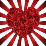 Coeur fait de roses rouges dans le style détaillé photorealistic, vecteur propre sur des poutres illustration stock