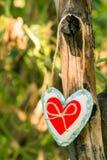 Coeur fait main avec le jour du ` s de Valentine, une déclaration de l'amour Photographie stock libre de droits