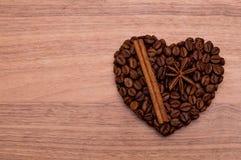 Coeur fait main de café Image libre de droits