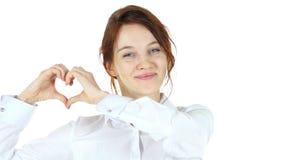Coeur fait main, femme dans l'amour Photo libre de droits