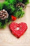 Coeur fait main pour le décor de Noël Photos libres de droits