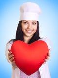 Coeur femelle de fixation de docteur photographie stock