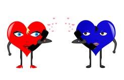 Coeur-fille et coeur-garçon Photo libre de droits