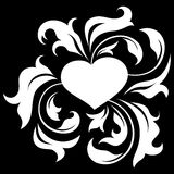 Coeur fleuri 2 (sur le noir) Photos libres de droits
