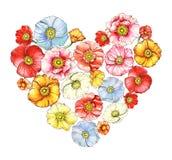 Coeur floral avec des pavots d'aquarelle Image libre de droits