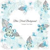 Coeur floral bleu de fond Image stock