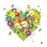 Coeur floral d'été pour votre conception Photographie stock libre de droits