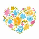 Coeur floral d'abrégé sur vecteur d'aquarelle illustration de vecteur